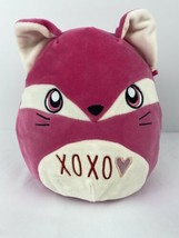 "Squishmallows Xoxo Fern Fox Stuffed Animal Hot Pink White Soft 10"" Tall Euc - $14.84"