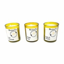 3 PIECE GIN SCENTED GREEN GLASS BOTTLE CANDLES 14 HOURS BURN TIME EACH - $11.78