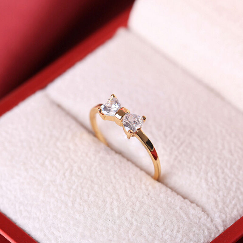 Primary image for [Jewelry] Simple Crystal Bow Ring for Friendship Best Friend Gift - Size US 8