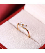 [Jewelry] Simple Crystal Bow Ring for Friendship Best Friend Gift - Size... - £3.81 GBP