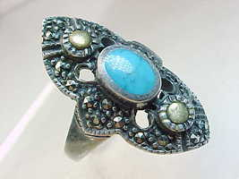 Genuine TURQUOISE and MARCASITE Vintage RING in Sterling Silver - Size 8 - $70.00