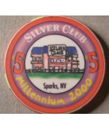 "1999 - $5.00 Casino Chip From: ""The Silver Club"" - (sku#2104) - $2.79"