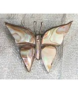 Elegant Taxco Iridescent Shell Sterling Silver Butterfly Brooch 1950s vi... - $29.95