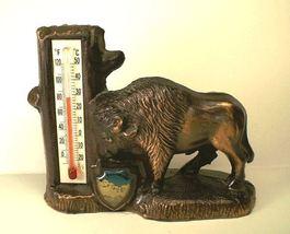 Mt Rushmore Souvenir Thermometer Bison Buffalo Metal Japan vintage SD wo... - $18.00