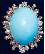 Large Heavy Estate Vintage 14k 25ct Turquoise Diamond Halo Ballerina Ring - $1,678.05