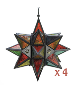 Lot of 4 MOROCCAN STYLE STAR LANTERNS Multi-Colored Candle Lamp - $132.99