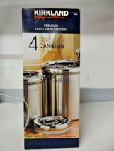 Premium Stainless Steel 4 Stackable Canister Set NIB - $28.79