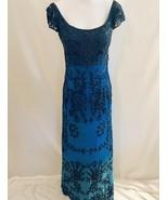 Je Matadi Royal Blue Sequin Maxi dress Formal Beaded Gown Sz Medium Cap slv - $76.00