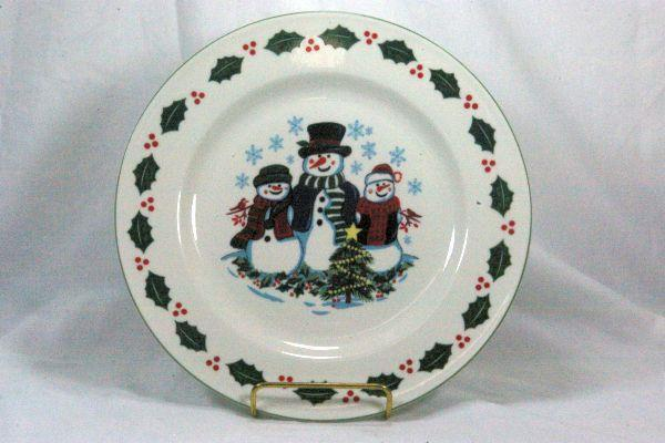 Primary image for GEI Snowman Family Blue Snowflakes Dinner Plate