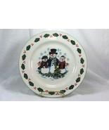 GEI Snowman Family Blue Snowflakes Dinner Plate - $5.66