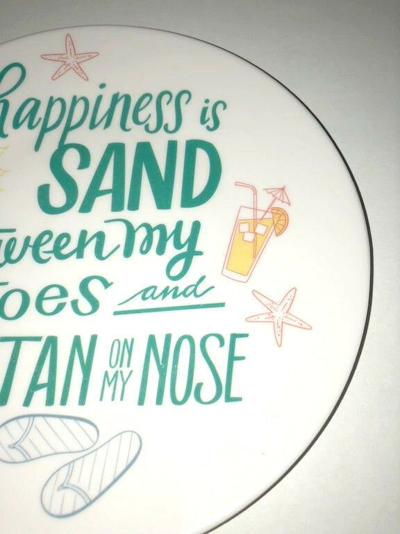"Melamine Tidbit Appetizer Dessert Plates 6"" Set of 6 Beach House Umbrella Drink"