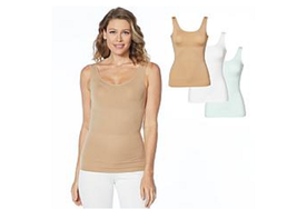 Yummie 3-pack Seamless 2-Way Shaping Tank, White/Blue/Almond 2X/3X 630824 - $34.64