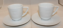 Nespresso Set of 2 Nespresso Demitasse Mug Cups Saucers White Embossed Logo - $37.29