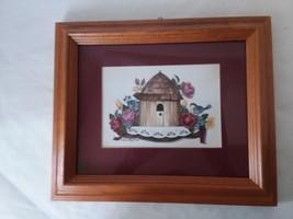 """Laurie Korsgaden Burgundy Flower Floral Bird Bird House Wall Art 9"""" x 7 ... - $21.77"""