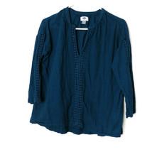 Old Navy Womens Size XS Blue Boho Blouse Split Neck Lightweight 100% Cotton - $16.79