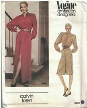 2630 UNCUT Vogue Sewing Pattern Misses Loose Fitting Dress Calvin Klein ... - $14.99
