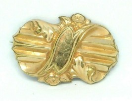 Antique Victorian Gold Filled Etched Hollow Floral Brooch C Clasp - $29.70