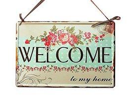 PANDA SUPERSTORE Retro Floral Metal Welcome Sign Home Front Door Porch Hanging S