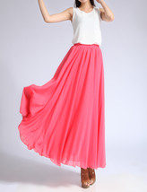 Melon Red Chiffon Skirt High Waisted Beach Chiffon Skirt Plus Size image 2