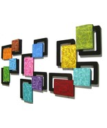 Colorful swirly Abstract Square Wall Decor Wall Hanging Sculpture, Home ... - $336.59