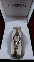 ELGIN Goldtone textured  Stainless Steel Back Ladies Japan Movt Watch NEW IN BOX - $38.61