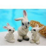 Vintage hagen renaker early miniature rabbits ears apart set of 3 thumbtall
