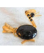Art Deco 30s Black Rhinestone Goldtone Duck Bro... - $49.95