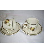 Royal Doulton Cornwall  LS 1015 Cups & Saucers Double Green Trim 4 pc set - $8.69