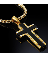 "1.2"" 18K Gold Plated Men Onyx Cross Pendant Chain Necklace Cubiczirconia... - $24.60"