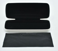 Authentic Calvin Klein White Hard eyeglasses case with Cleaning cloth - $9.99