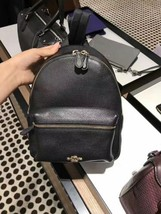 NWT COACH F38263  BLACK CHARLIE PEBBLE LEATHER MINI BACKPACK  - $159.95