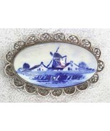 Antique Victorian Delft Porcelain Windmill Silv... - $79.95