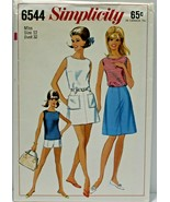 Vintage 1960s Simplicity Sewing Pattern 6544 Skirt Blouse Shorts Size 12... - $16.19