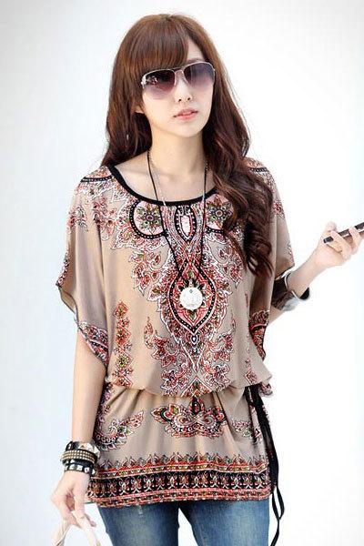 Chiffon floral print bohemian style blouses lc25472
