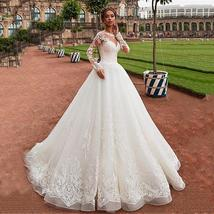 Elegant Victorian Tulle Wedding Dress Long Sleeve Court Train With Lace Applique image 7