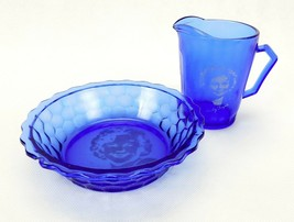SHIRLEY TEMPLE Cobalt Blue Glass Cereal Bowl and Milk Pitcher WHEATIES P... - $19.55