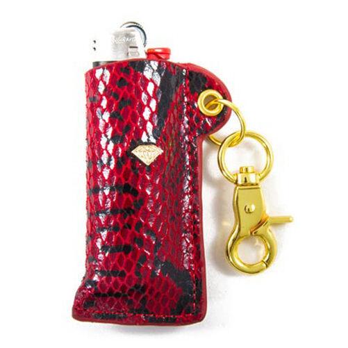 New in Giftbox Diamond Supply Co Red Black Gold Snakeskin Lighter Sleeve Holder
