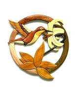 Hummingbird Flower Intarsia Wood Wall Art Home Decor Plaque Lodge New - £34.03 GBP