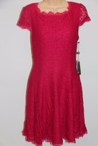 NWT Adrianna Papell Cap Sleeve Fit & Flare Dress Size 10P Lip Lace - $40.52