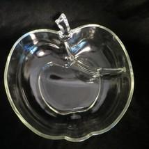 Vtg Large Apple Shaped Glass Divided Serving Bowl Hazel Atlas Orchard Mcm Clear - $49.49
