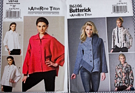 2 NEW KATHERINE TILTON VOGUE & BUTTERICK SEWING PATTERNS SHIRT & JACKET ... - $21.00