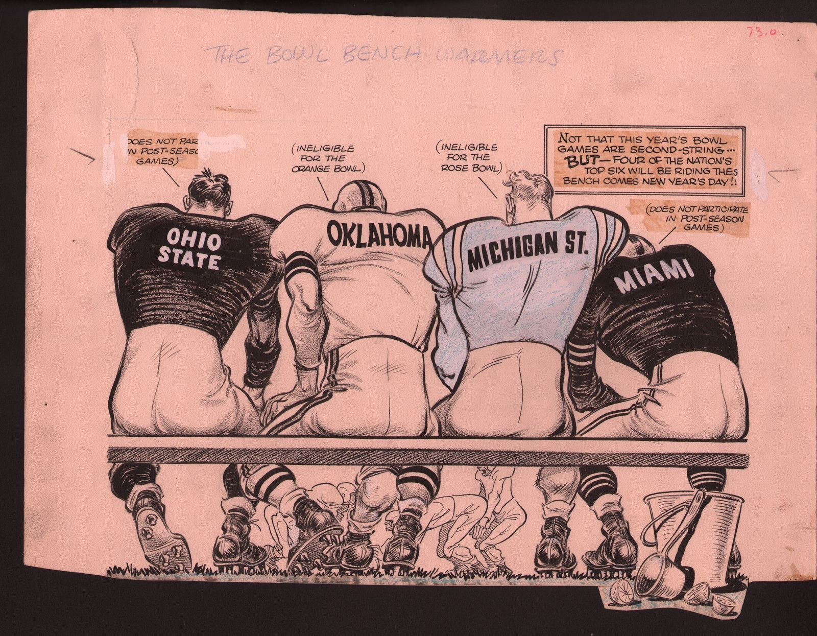 Primary image for Karl Hubenthal Original Sporting News Art-NCAA Bowl Games-Ohio State-Miami FL-G