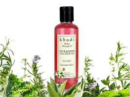New Khadi Herbal Rose & Geranium Massage Oil Without Mineral Oil-210ml - $26.18+