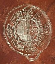 Vintage Divided Condiment Dish Double Handle Pressed Glass Fleur De Lis Pattern image 3