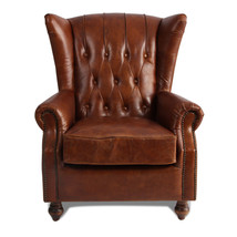MarquessLife 100%Genunie Leather Handmade Tufted High Wing Back Sofa Armchair image 2