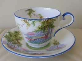 """AYNSLEY BONE CHINA ENGLAND """"BLUEBELL TIME"""" 1040's CUP AND SAUCER - $49.00"""