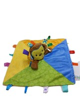 Taggies Monkey Fleece Baby Security Blanket Lovey Tags Multicolored Ribbon - $28.41