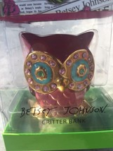 Open Box, BETSEY JOHNSON, CRITTER BANK, Adorable/ Bejeweled, Owl, Coin Bank - $29.99