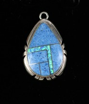 Vintage .925 Sterling Silver 6.7g Turquoise Opal Teardrop Small Pendant ... - $44.41