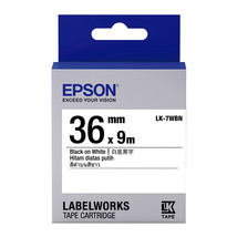 36mm Black on White - Epson LABELWORKS LK-7WBN Tape Cartridges (Pack of 2) - $77.99